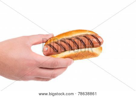 Hotdog with grilled sausage