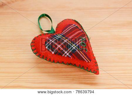 Handmade Red Plaid Heart-shaped Festive Ornament