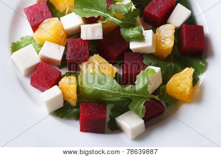 Delicious Beet Salad With Oranges And Cheese. Horizontal Top View