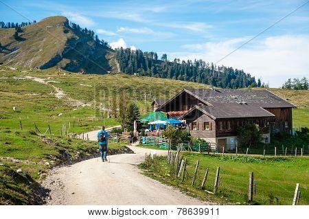 Hiker In The Austrian Alps