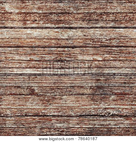 Wooden Wall With Red Paint, Seamless Background Texture