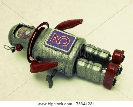 a fallen robot toy