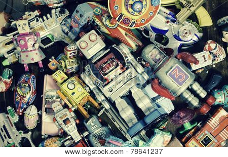 old robot toys  shot from above