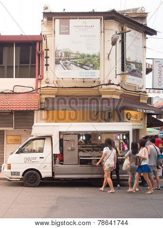 Food Seller Cart (lok Lok) On Jonker Street. Malacca, Malaysia.