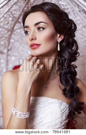 Beautiful Elegant Bride With Dark Hair Posing At Studio