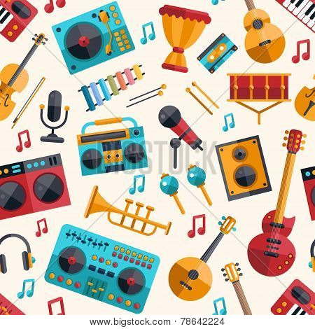 Illustration of modern flat design musical instruments and music