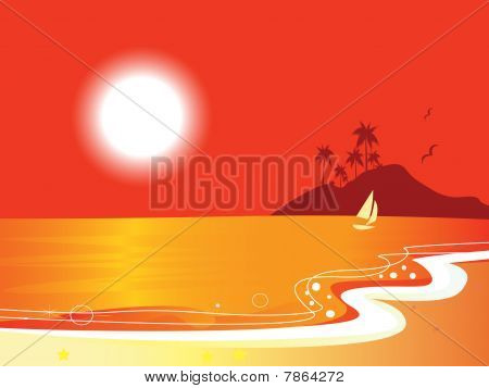 Sunny red beach coastal and ocean with sailor boat