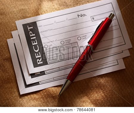 Blank Receipt And Red Pen