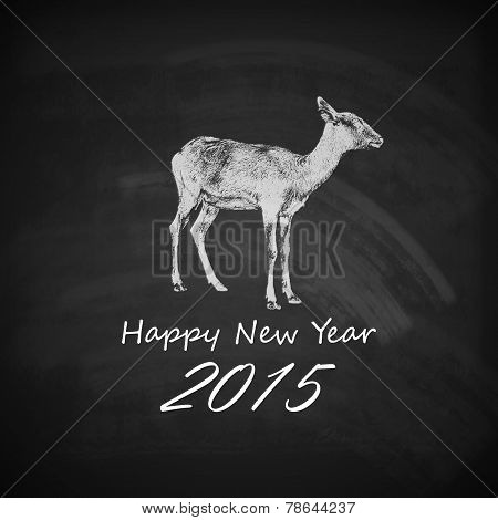 Vector holiday illustration of a goat on the blackboard chalk te