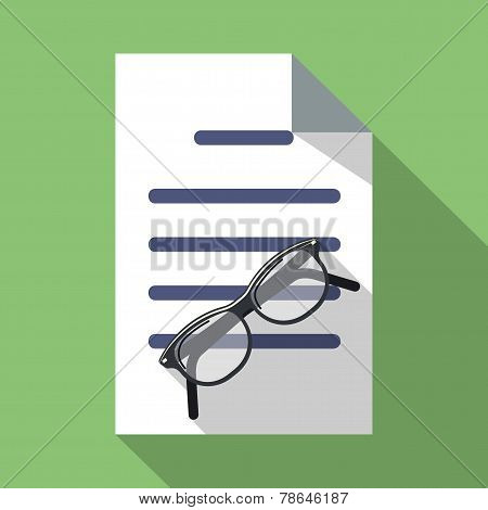 Glasses and Paper Document