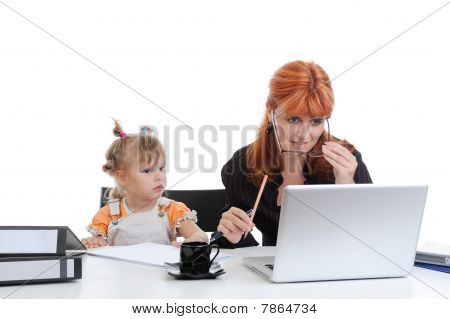 Mother And Daughter In The Office.