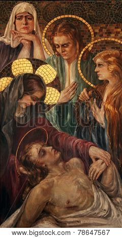 BUDVA, MONTENEGRO - JUNE 09, 2012: Lamentation of Christ, Saint John the Baptist catholic church, on June 09, 2012 in Budva, Montenegro