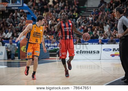 VALENCIA, SPAIN - DECEMBER 7:  Perkins with ball during Endesa Spanish League game between Valencia Basket Club and Laboral Kutxa Baskonia at Fonteta Stadium on December 7, 2014 in Valencia, Spain