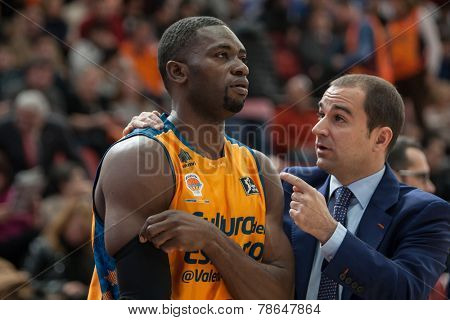 VALENCIA, SPAIN - DECEMBER 7:  (L) Sato during Endesa Spanish League game between Valencia Basket Club and Laboral Kutxa Baskonia at Fonteta Stadium on December 7, 2014 in Valencia, Spain