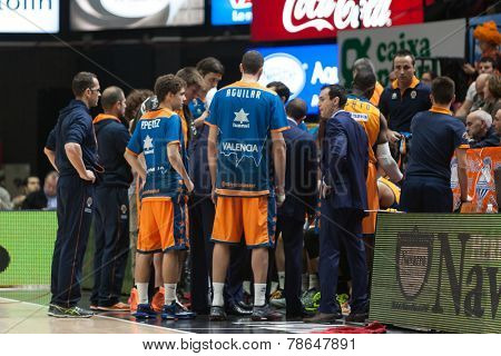 VALENCIA, SPAIN - DECEMBER 5: Valencia Basket players during Euroleague match between Valencia Basket Club and Crvena Zvezda Telekom Belgrade at Fonteta Stadium on Dicember 5, 2014 in Valencia, Spain