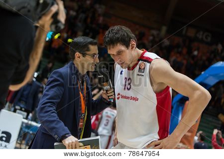 VALENCIA, SPAIN - DECEMBER 5: 13 Marjanovic during Euroleague match between Valencia Basket Club and Crvena Zvezda Telekom Belgrade at Fonteta Stadium on Dicember 5, 2014 in Valencia, Spain