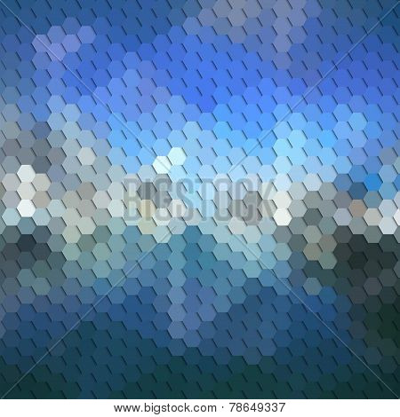 Colorful blue geometric background, abstract hexagonal pattern vector