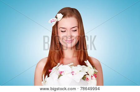 Beauty, Cosmetology And Health Skin Concept - Lovely Smiling Woman With Flower Petals On The Body