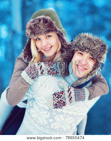 Portrait Happy Cozy Young Couple Having Fun Outdoors In Winter Day, Life Moment