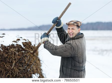 male farmer works with manure  early spring