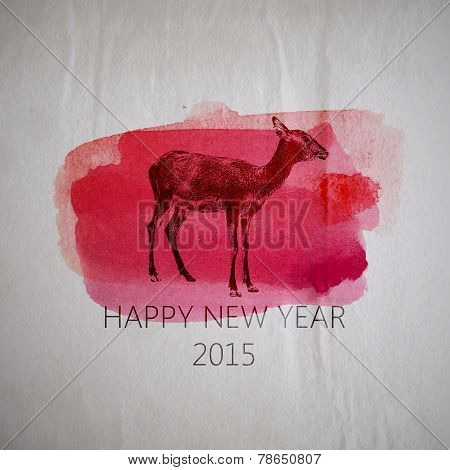 Vector holiday illustration of a goat on the watercolor texture.