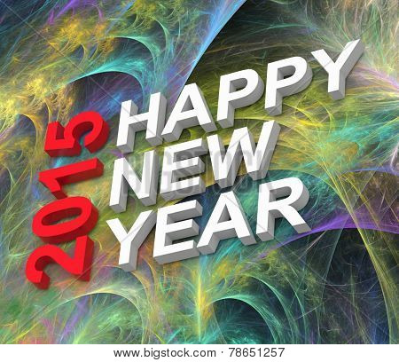 Happy New Year 2015, text on fractal fireworks background.