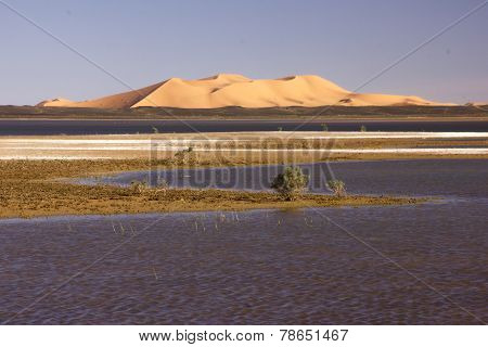 Dayet Srji Salt Lake With The Dunes Of Erg Chebbi