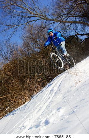 Bicyclist extreme snow