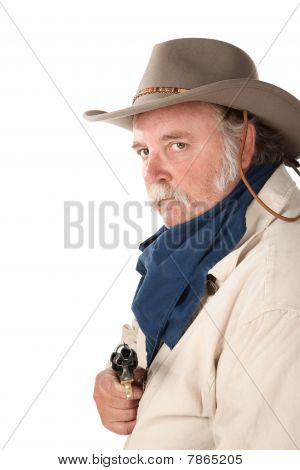 Big Cowboy with Pistol on White Background