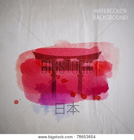 vector watercolor illustration of  traditional asian Japan gate