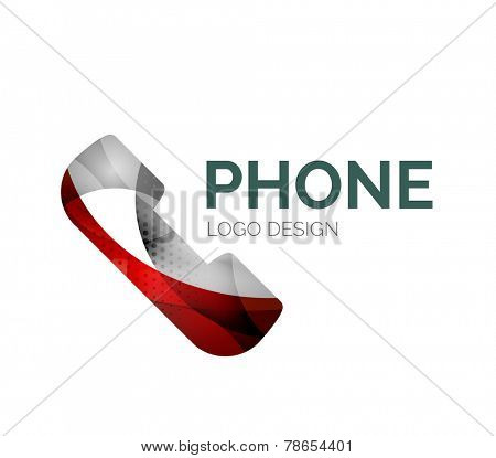 Abstract retro phone logo design made of color pieces - various geometric shapes