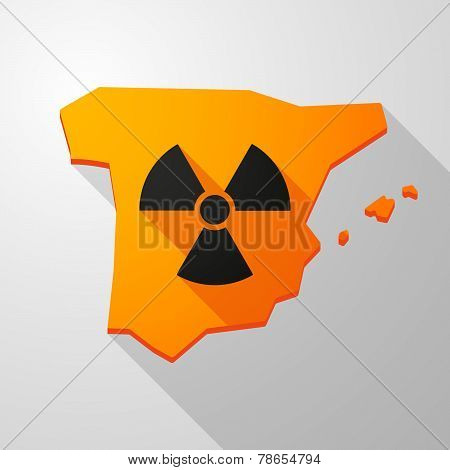 Spain Map Icon With A Radioactivity Sign