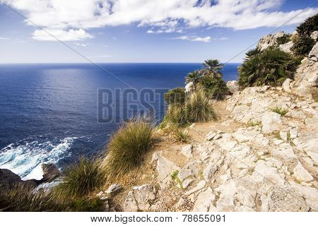 A View Of Meditarrean Sea From The Cliff On Cap De Formentor