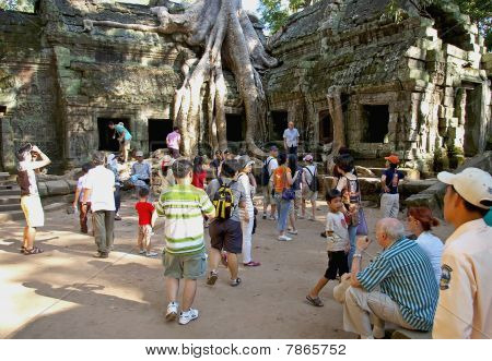 Tourists Crowd Around Historic Temple