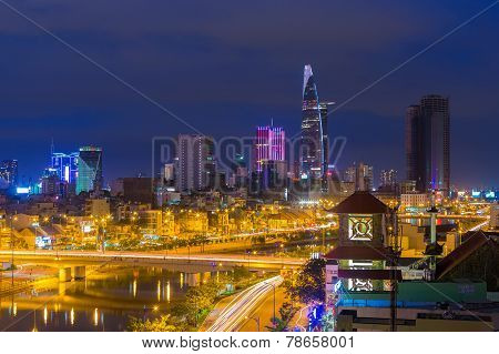 Ho Chi Minh City / Vietnam - Dec 13 2014: Ho Chi Minh Riverside Cityscape Night View With Ben Nghe O