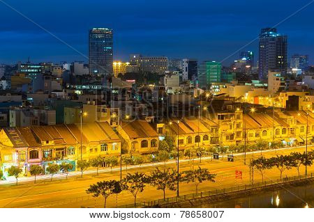 night view of Saigon old town or china town on Saigon riverside ( Tau Hu canal )