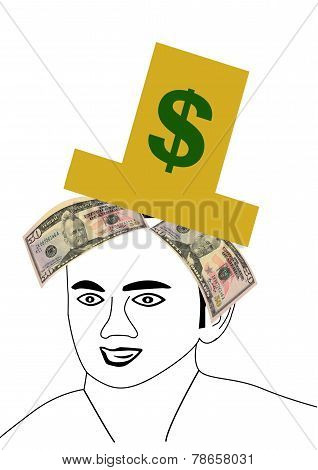 Man Wearing Gold Hat With Money Underneath