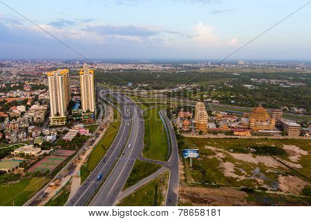 Beautiful National Route 1A highway from high view at Ho Chi Minh City ( Sai Gon ) Vietnam