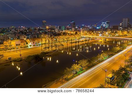 Ho Chi Minh City / Vietnam - Dec 13 2014 : Night View Of Saigon Old Town Or China Town On Saigon Riv