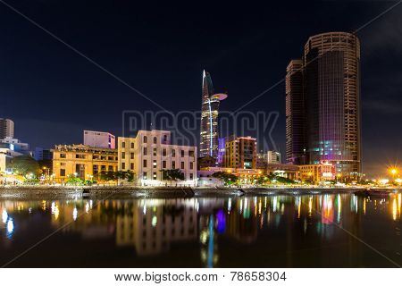 Night view of high building on Tau Hu canal at Ho Chi Minh City ( Saigon ), Vietnam