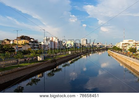 Tau Hu canal at Ho Chi Minh City ( Saigon ), Vietnam. The canal is flow over the center of the city