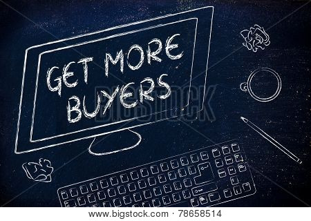 Get More Buyers Text On Computer Screen, Desk With Keyboard And Coffee