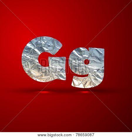 vector set of aluminum or silver foil letters. Letter G