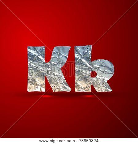 vector set of aluminum or silver foil letters. Letter K
