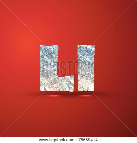 vector set of aluminum or silver foil letters. Letter L