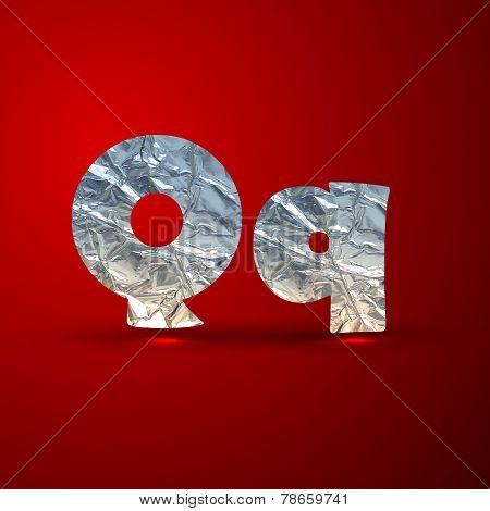 vector set of aluminum or silver foil letters. Letter Q