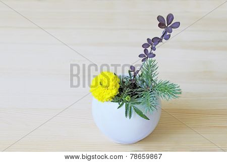 Ikebana With Yellow Flower, Branches Of Blue Spruce And Barberry In A Vase