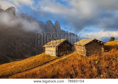 Abode of sheeps shepherd with mountains in the background