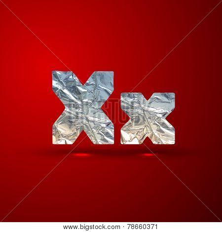 vector set of aluminum or silver foil letters. Letter X