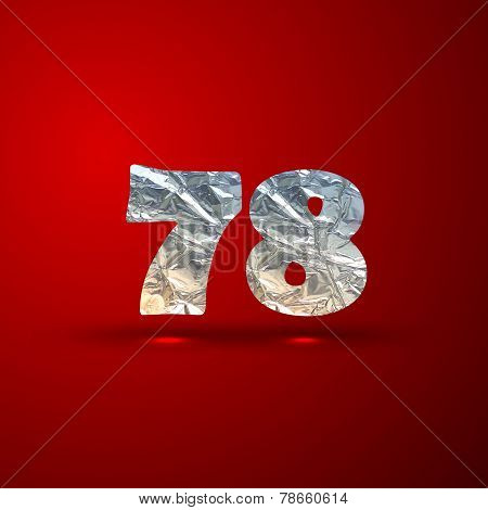 vector set of aluminum or silver foil numbers 7, 8